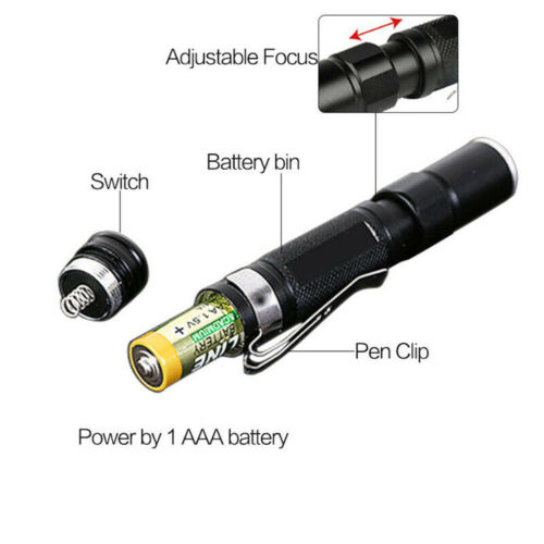 Mini Waterproof 8000LM Pocket LED Flashlight Zoomable LED Torch Penlight Lights