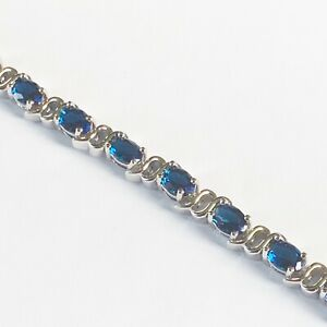 Real-White-Gold-Bracelet-Blue-Oval-Sapphires-7-5-19cm-18k-GF-in-Leatherette-Box