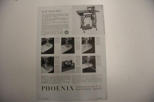altes Prospekt Phoenix Nähmaschine Nr 29 um 1930 Werbeblatt