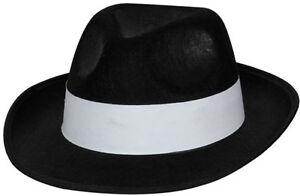Mafia Gangster Hut Schwarz Neu Karneval Fasching Hut Mutze