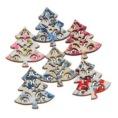 LOVE Assorted Hollow XMAS Tree Craft Wooden Buttons Sewing 250x