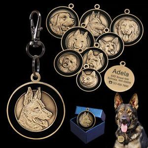 3D-Laiton-Medaille-Plaque-a-graver-medaillon-personnalise-pour-Chien-et-Chat