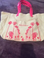 Juicy Couture Canvas School Bag Beach Tote Neon Pink Patent Yoga Gym Backpack