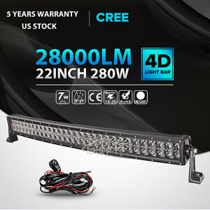 4d 22inch 280w cree curved led light bar spot flood offroad 4x4wd image is loading 4d 22inch 280w cree curved led light bar aloadofball Gallery
