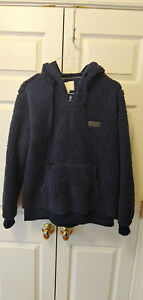 New Women Simply Southern Solid Blue Sherpa Hoody Soft 1/4 Zip Pullover Size XXL