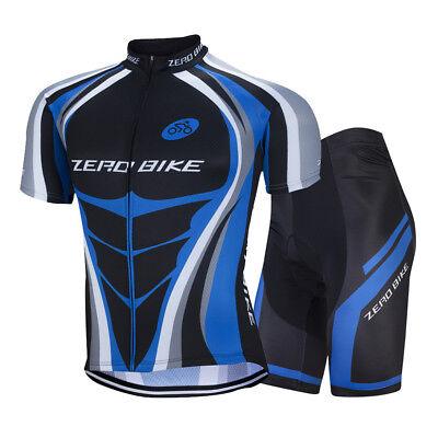 Zerobike Herren Atmungsaktiv Shirts Fahrradtrikot & Radlerhose Kurzarm Blau Belebende Durchblutung Und Schmerzen Stoppen