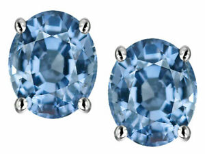 2 ct. Aquamarine Oval Stud Earrings in Sterling Silver ~ MARCH BIRTHSTONE