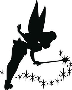 Tinkerbell fairy dust i disney silhouette kids wall art for Black and white tinkerbell