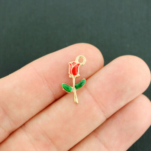 E653 6 Rose Charms Gold Tone Enamel Classic and Pretty