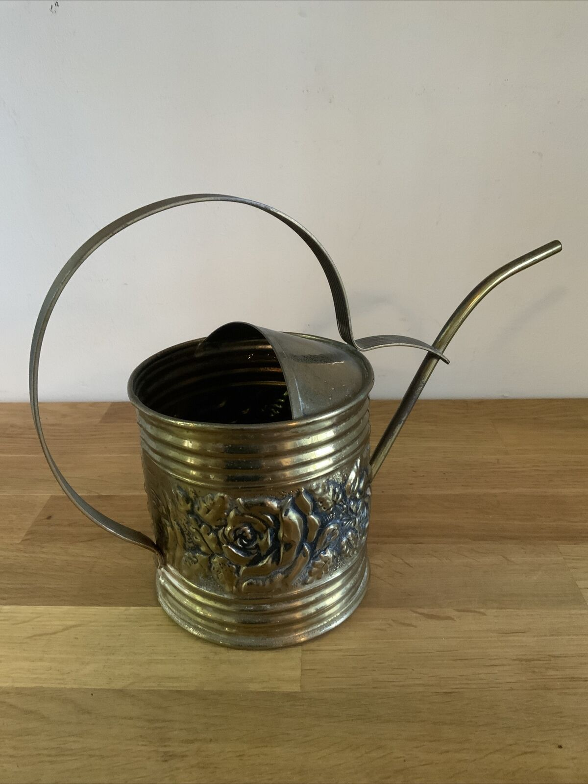 Vintage Brass Watering Can Rose Embossed Slim Spout Curved Indoor Houseplant