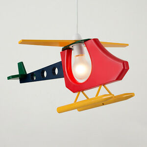 Childrens Multi Coloured Helicopter Ceiling Pendant Light