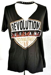 River-Island-Femmes-Top-T-Shirt-Noir-Taille-M-UK-12-14-100-coton-cloute-tres-bon-etat
