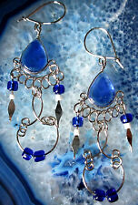 Ohrring Ohrhänger Alpaka Silber Glas blau Indianer Ethno Inka Maya Stil 5