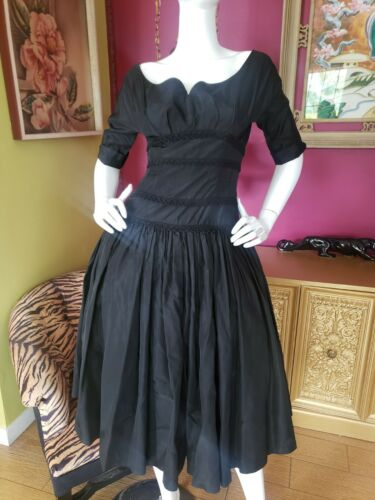 Vintage 1950s Gothic Black Taffeta Dress Sm