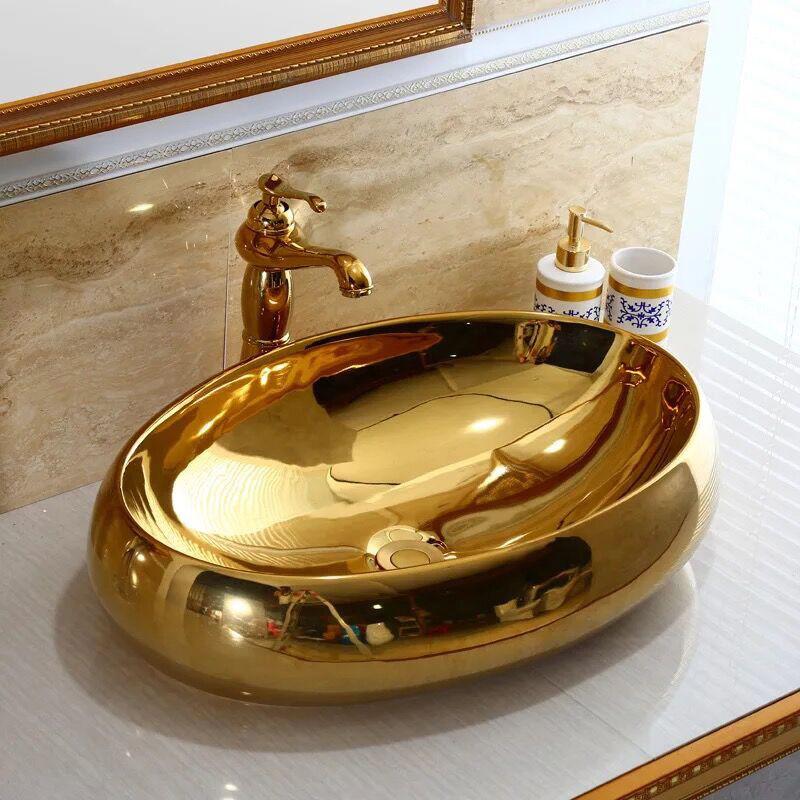 Tazón de fuente de oro de cerámica oval Cuenca Mezclador Grifo de Lavabo buque se hunde match drenaje Pop