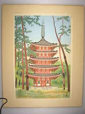 Vintage KAMEI TOBEI Japanese Woodblock Print - DAIGO PAGODA in SUMMER