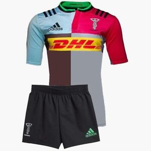 adidas-Harlequins-Home-Mini-Kit-Infants-Red-Blue-Brown-Jersey-Shorts-Rugby-Union