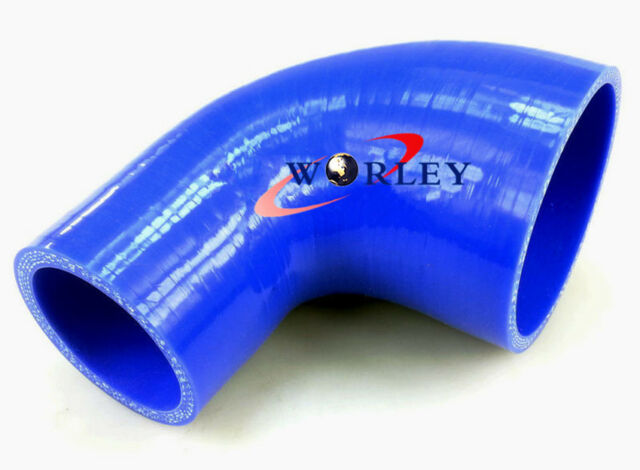 """Silicone 90 Degree Elbow 2.5"""" to 2.75"""" 64mm to 70mm Reducer Pipe Hose BLUE"""