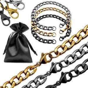 Panzerkette-Koenigskette-Stahl-Set-Halskette-Armband-Biker-Schwarz-Silbern-Golden