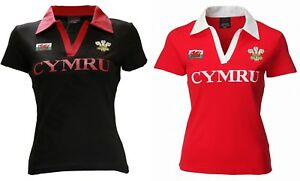 81df2f907f6 New Women's Welsh Cymru Classic Rugby V Collar Cotton Short Sleeve ...