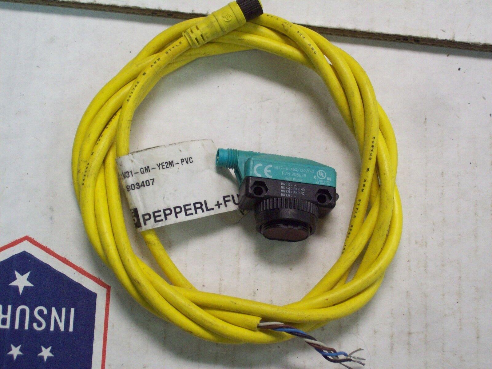 Pepperl    Fuchs Fotoeléctrica Sensor ML17-8-450/120/143 w Cable V31-GM-YE2M-PVC 0735b9