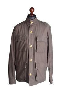 Men's CARHARTT Olive 100% Cotton Military Multipocket Zip Operator Jacket Size L