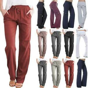 Womens-Loose-Yoga-Cargo-Pants-Wide-Leg-Casual-Palazzo-Sports-Pockets-Trousers