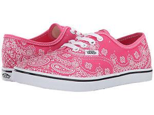 NIB Vans Kids Authentic Lo Pro Pink White Bandana Print Lace up ... df4804ba8d