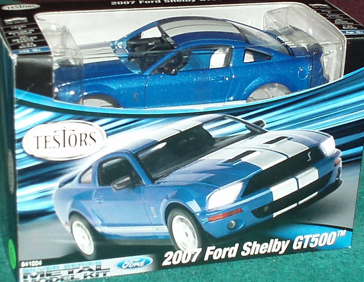 TESTORS 2007 FORD MUSTANG SHELBY GT500 ASSEMBLY KIT 1 24 SKILL LEVEL 2 blueE WHT