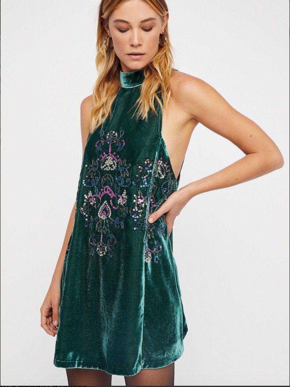 Free People Jill's Sequin Swing Mini Dress Size  XS Green NEW