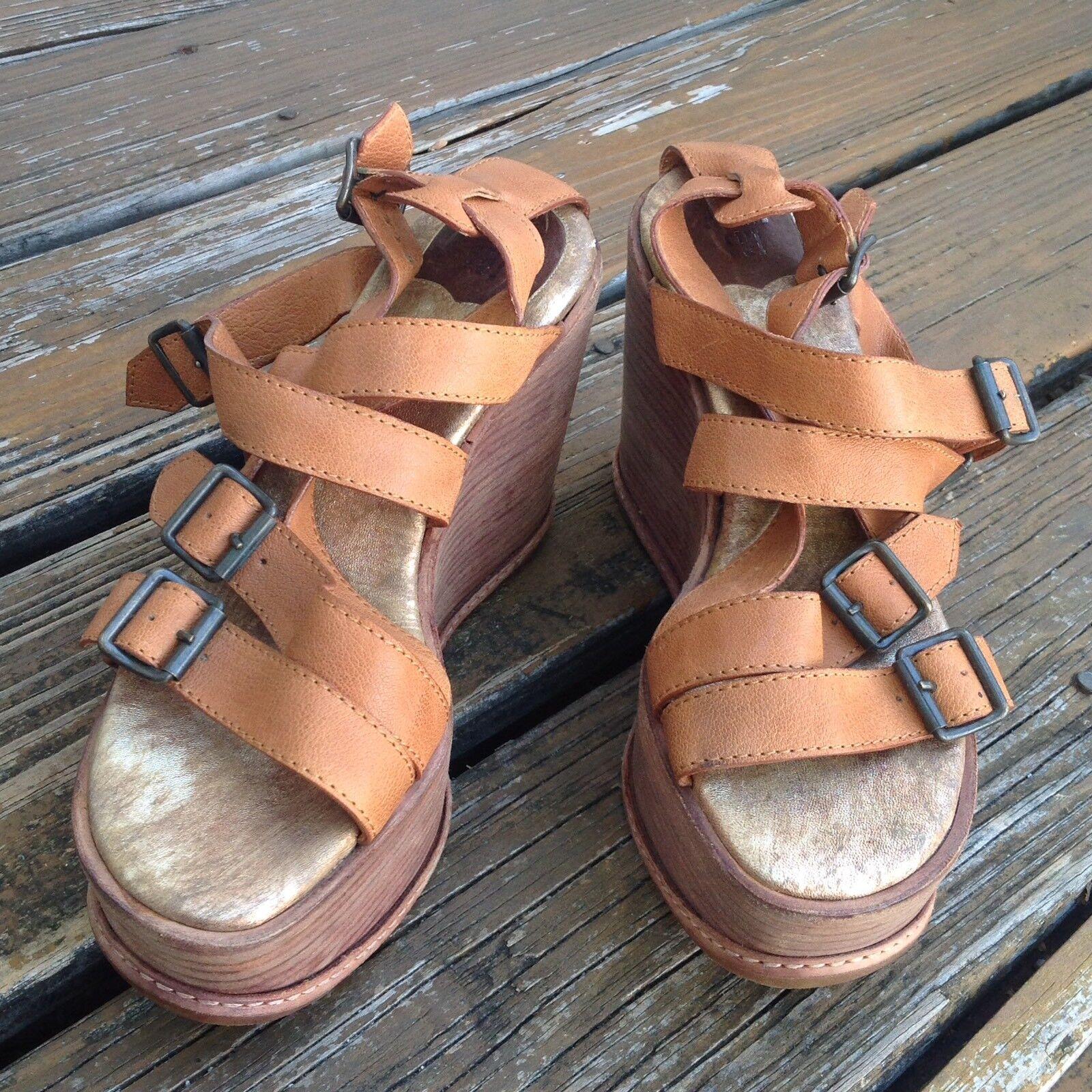 Anna SUI Marrón Cuero Sandalias De Cuña Con Plataforma Puntera Abierta UE 38 Zapatos para mujer