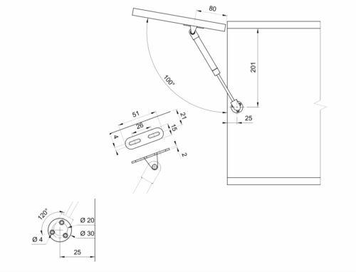 Gasdruckfeder Kurzform Gasfeder Klappenbeschlag Kompressionsfeder 60-80N