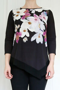 New-Ladies-Ex-Wallis-Black-Pink-Floral-Jersey-Tunic-Top