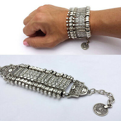 Silver Tone Ethnic Tribal Chain Coin Bracelet Indian Women Statement Jewelry NEW