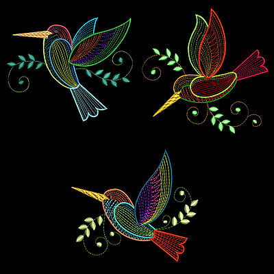 FANCY COLORLINE HUMMERS - 30 MACHINE EMBROIDERY DESIGNS (AZEB)