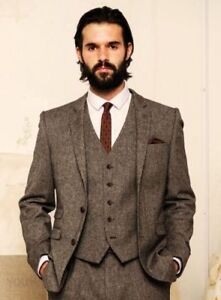 Men/'s 3Pcs Tweed Jacket Herringbone Check Tuxedos Groom Slim Fit Tweed Suit