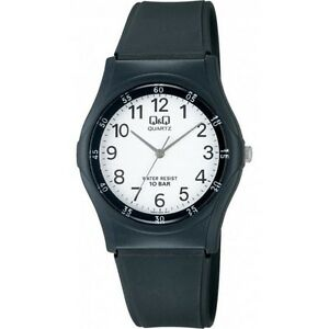 Q-amp-Q-VQ04J003Y-By-Citizen-Black-Resin-White-Dial-Analog-Sports-Men-039-s-Watch