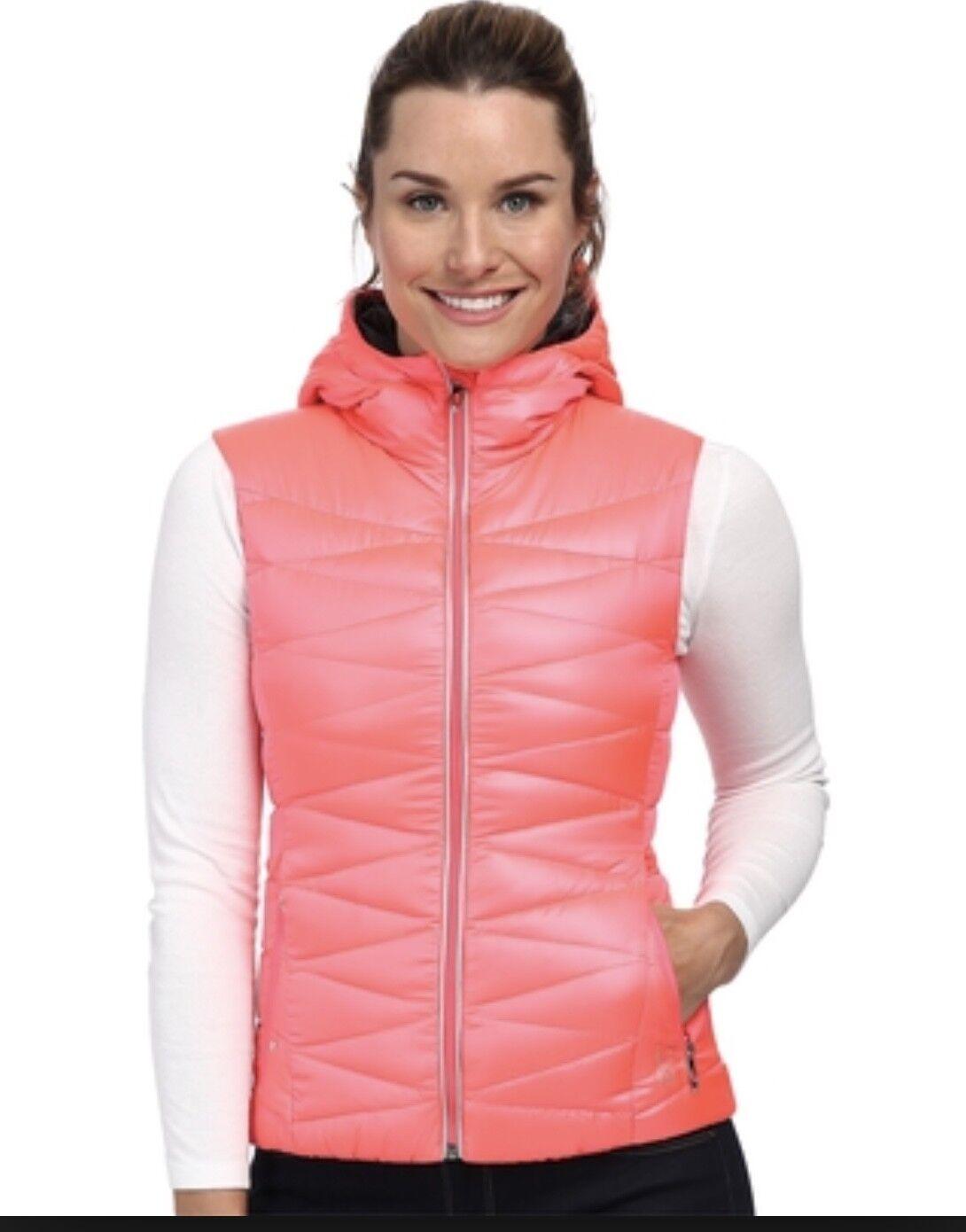 NEW Spyder Timeless Hooded Down Vest - Women's Bright Neon orange Pink  Small