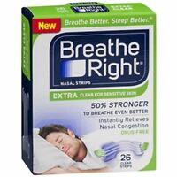 Breathe Right Nasal Strips, Extra Clear For Sensitive Skin 26 Ea (pack Of 5) on sale