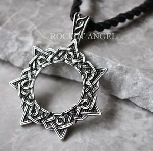 Antique silver plt heptagram magic star pendant necklace druid pagan image is loading antique silver plt heptagram magic star pendant necklace aloadofball