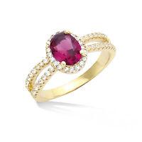 Dolly-bijoux Bague T52 À 62 De Rubis Et Diamant Cz Micro-sertie Plaqué Or 18k