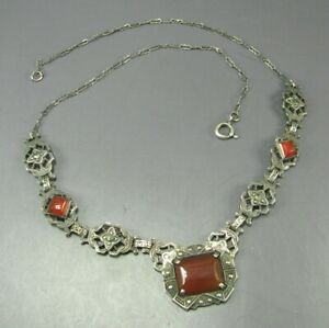 Stunning Carnelian and Silver Gemstone Necklace