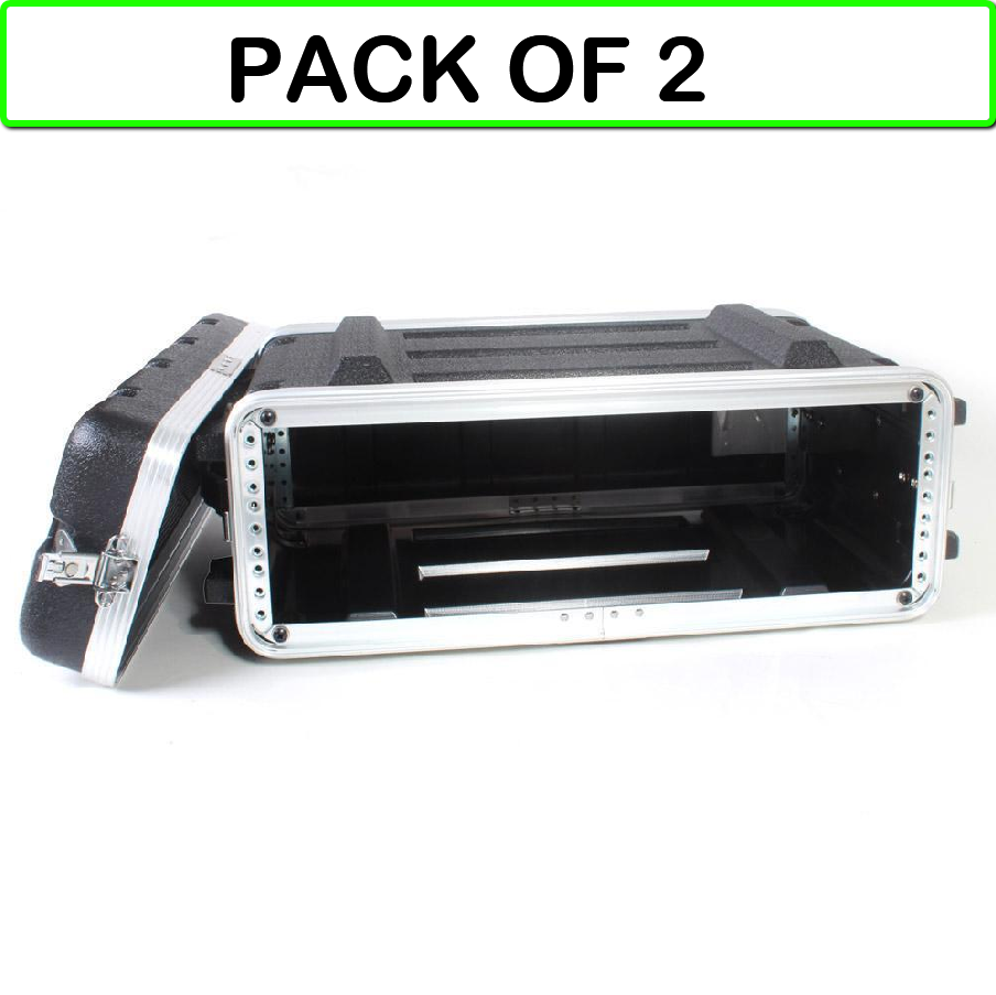 (2-PACK) 555-19601 PA  DJ 16  Medium Depth ABS 19  Rackmount Flight Case 3U
