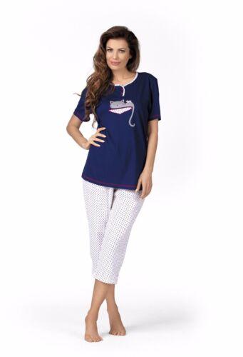 Comtessa Single Jersey Pyjama Schlafanzug Cat Print 100/% Baumwolle Gr.36-58 NEU