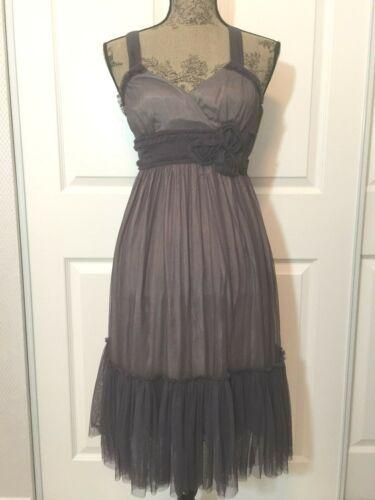 Spirited Away Grey Chiffon Dress by Anthropologie'