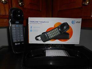 AT&T 210M Black Trimline Corded Phone Slimline Wall Desk Telephone