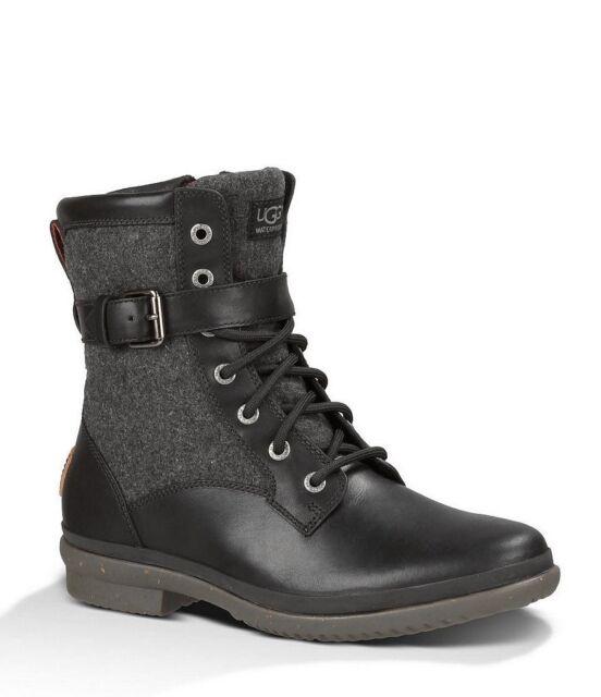 232c89cf7cd UGG Australia Kesey Leather Sheepskin Waterproof BOOTS Black Military  1005264 10