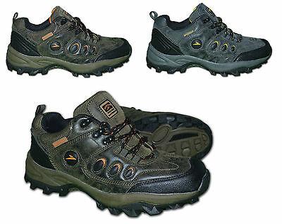 Mens Waterproof Trekking, Hiking, Walking Shoes -  Grey & Brown, Size UK 6 -11