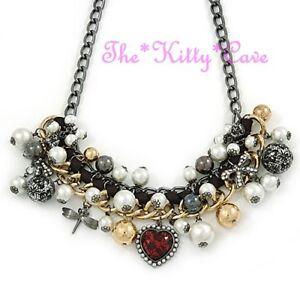 Gold-Perle-runde-Perlen-Schleife-Eintagsfliege-Spitze-Herzanhaenger-klobige-Kette