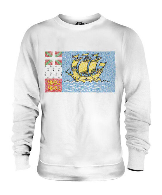 SAINT PIERRE AND MIQUELON SCRIBBLE FLAG UNISEX SWEATER  TOP GIFT